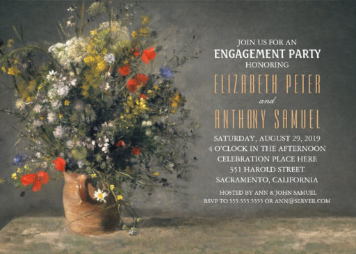 Vintage Painting Flower Vase Engagement Party Invitations