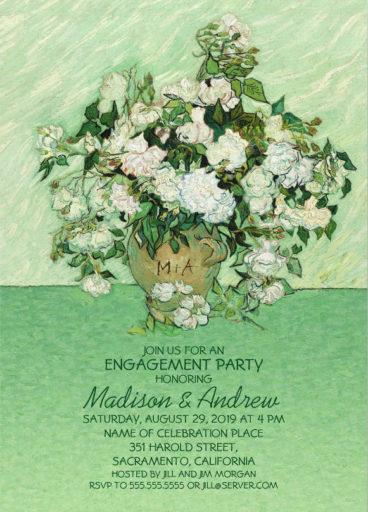 Vintage Roses Painting Engagement Party Invitations