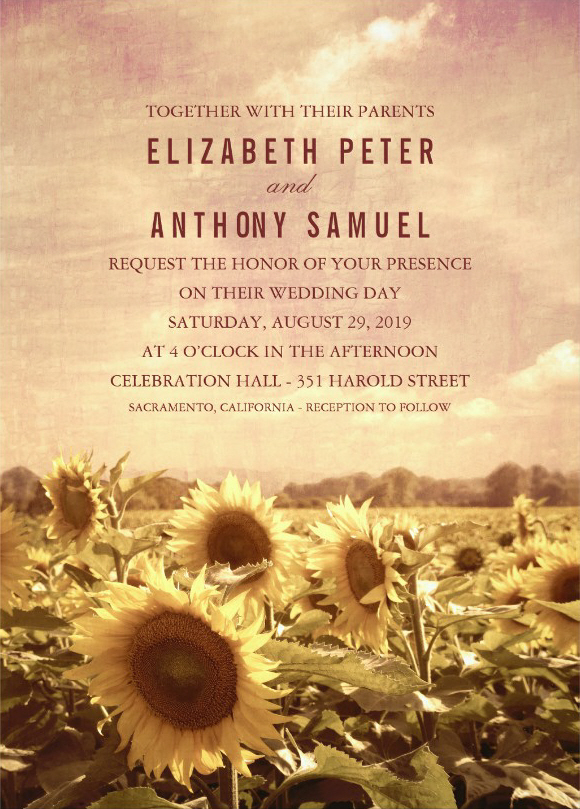 Vintage Sunflower Field Wedding invitations - Rustic Barn Weddings