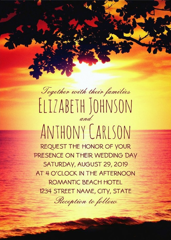 Ocean Sunset Beach Wedding Invitations - Tropical Tree
