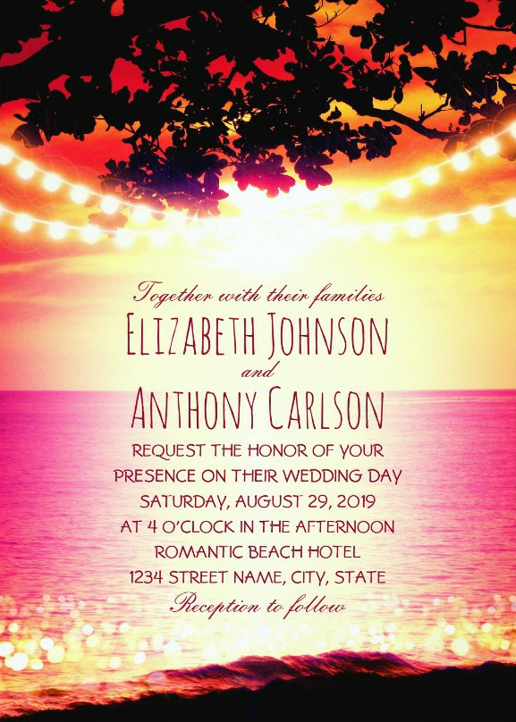 String lights Sunset Rustic Beach Wedding Invitations