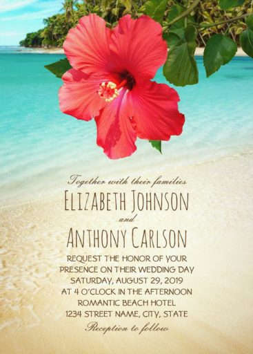 Tropical Hibiscus Flower Beach Wedding Invitations - Hawaiian Palm Tree Beach