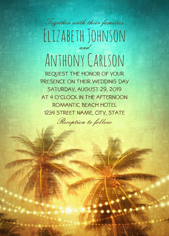 Unique Beach Wedding Invitations - Tropical Palm Trees In Sunset