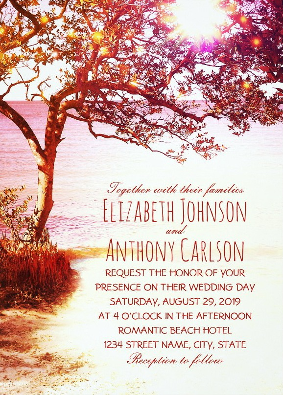 Whimsical Tree Sunset Beach Wedding Invitations