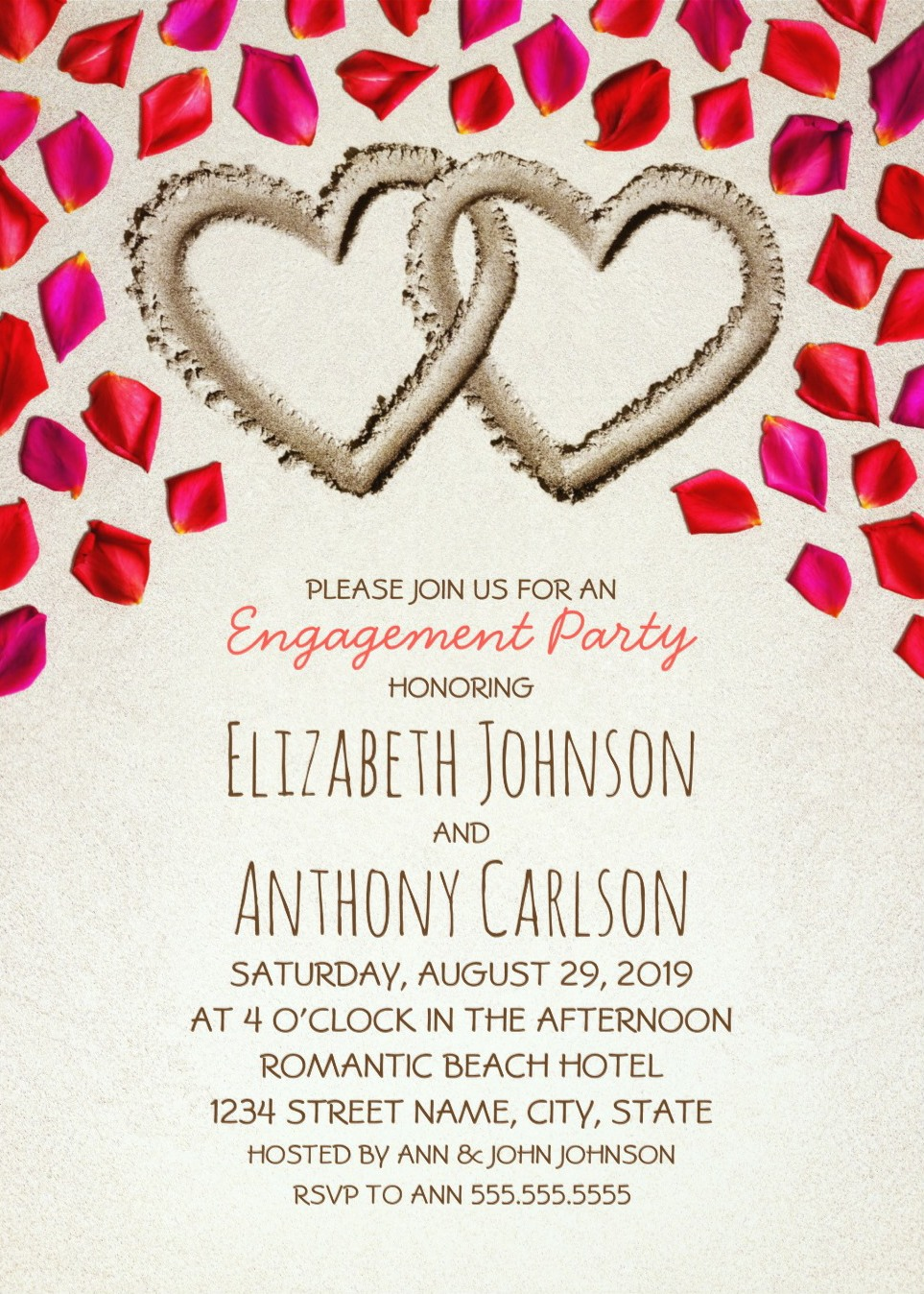Beach Engagement Invitations Creative Sand Hearts Rose Petals
