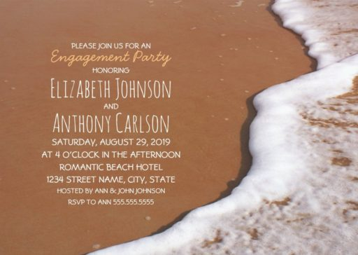 Beach Themed Engagement Party Invitation - Ocean Sand Wave Foam