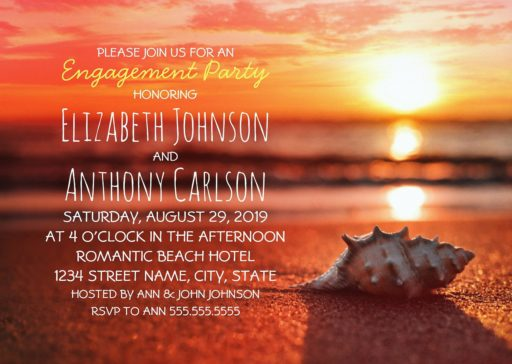 Seashell Engagement Party Invitations Sunset Beach Themed
