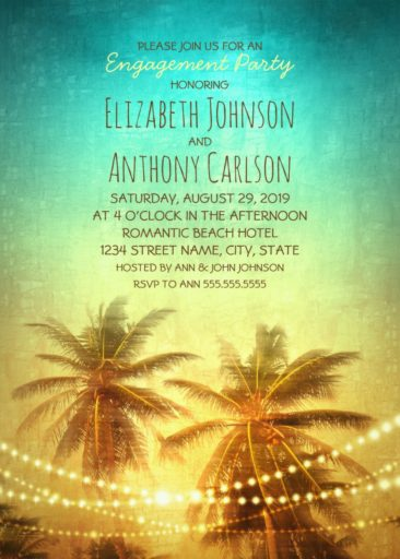 Tropical Beach Engagement Party Invitations - String Light Palm Trees