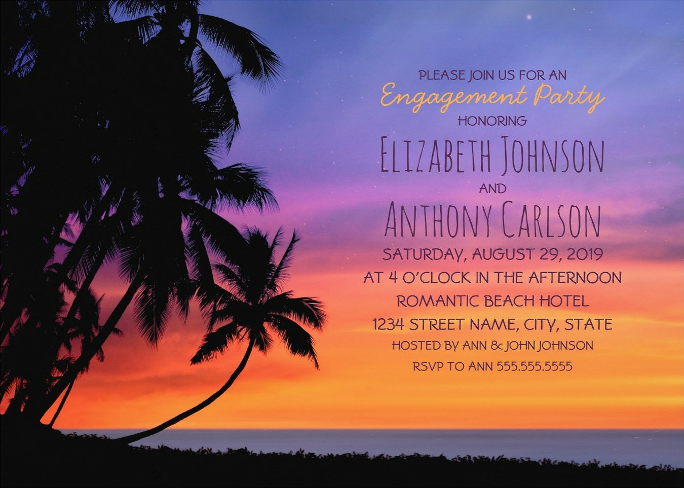 Tropical Sunset Beach Engagement party Invitations - Hawaiian Palm Trees