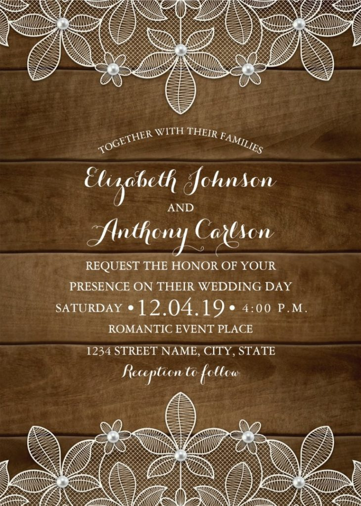 Country Wood Lace Wedding Invitations - Elegant Rustic Luxury Cards
