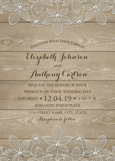 Rustic Wood Lace Wedding Invitations - Elegant Vintage Luxury Cards