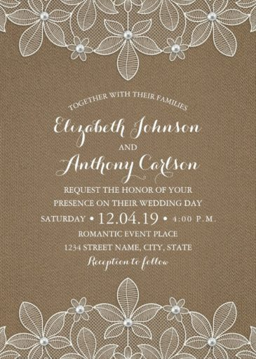 Country Burlap Lace Wedding Invitations - Elegant Rustic Luxury Cards