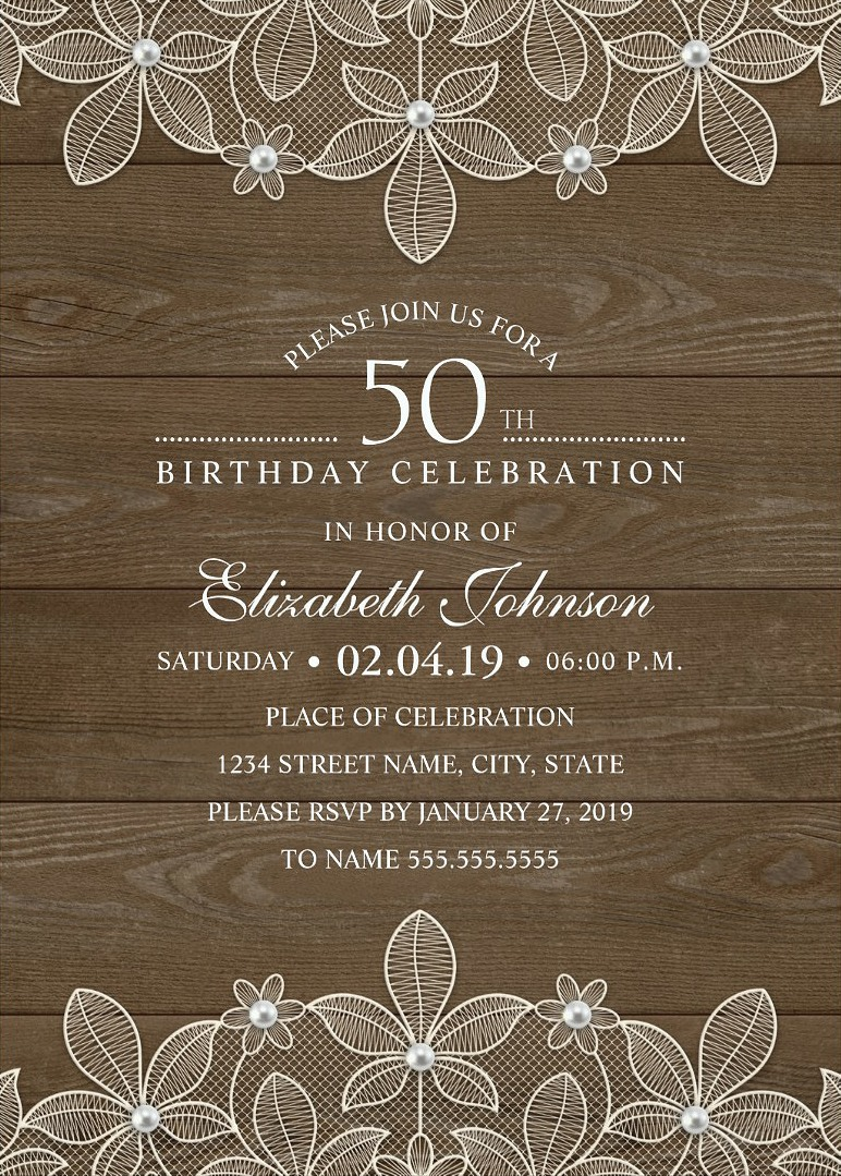 Wood 50th Birthday Invitations Lace and Pearls Party Cards