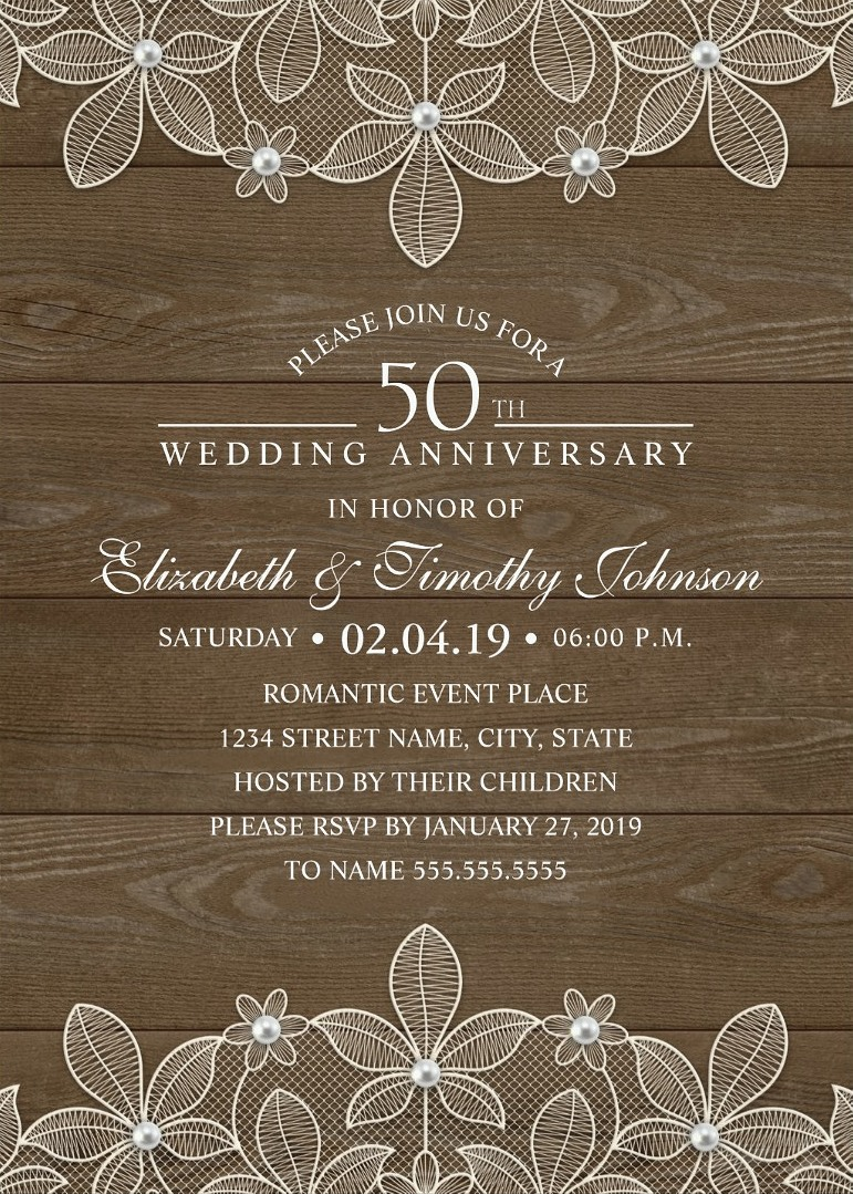 Country Wood 50th Wedding Anniversary Invitations - Lace and Pearls Cards