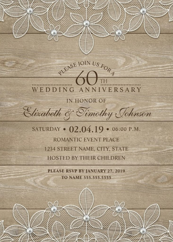 Country Wood 60th Wedding Anniversary Invitations - Lace and Pearls Cards
