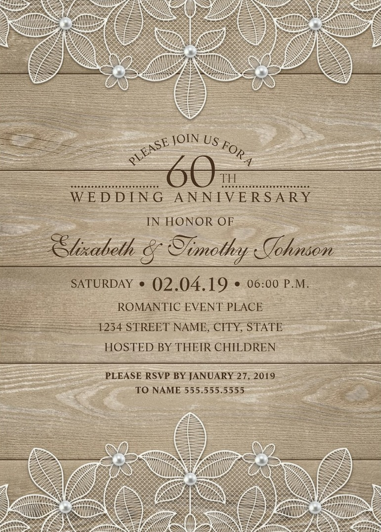 Country Wood 60th Wedding Anniversary Invitations   Lace And Pearls Cards