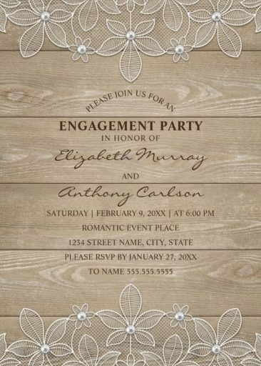 Country Wood Engagement Party Invitations - Lace and Pearls Cards