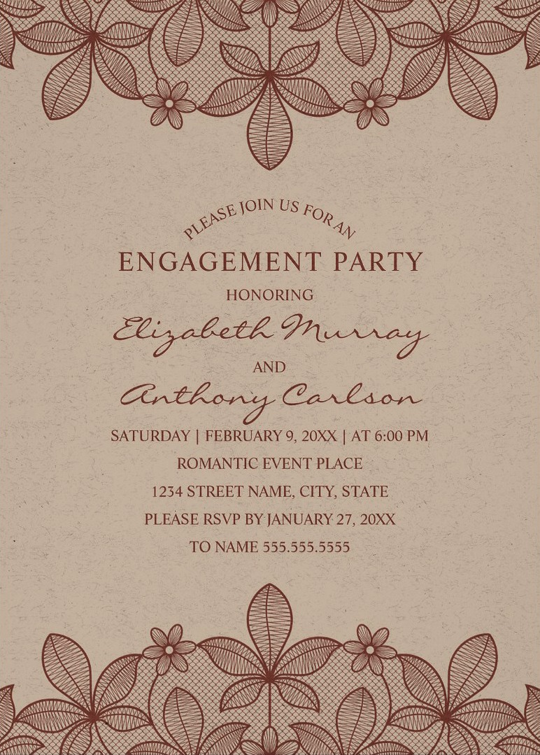 Craft Paper Rustic Engagement Party Invitations - Vintage Country Lace Cards