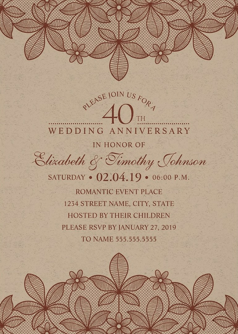 Anniversary invitations personalize now kraft paper 40th wedding anniversary invitations rustic lace cards solutioingenieria Images