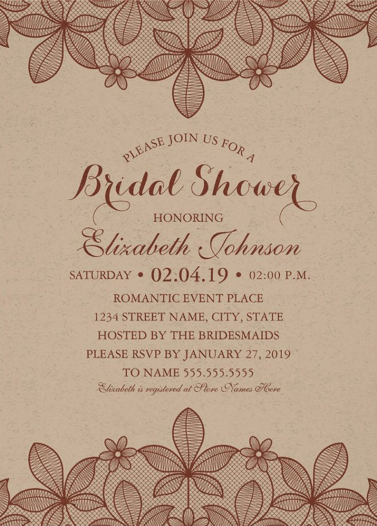Kraft Paper Rustic Bridal Shower Invitations - Vintage Country Lace Cards