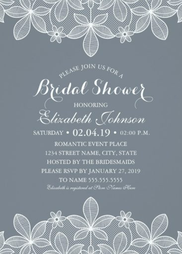Lace Bridal Shower Invitations - Modern Luxury Cards