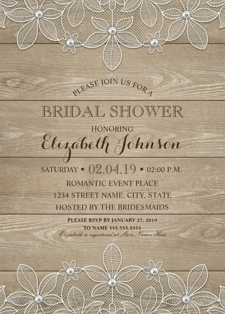 Lace Wood Bridal Shower Invitations - Rustic Lace and Pearls Cards