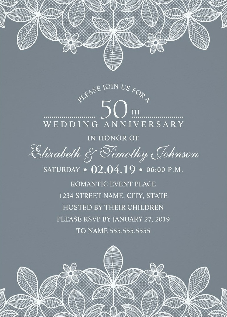 Anniversary invitations personalize now luxury lace 50th wedding anniversary invitations solutioingenieria Images
