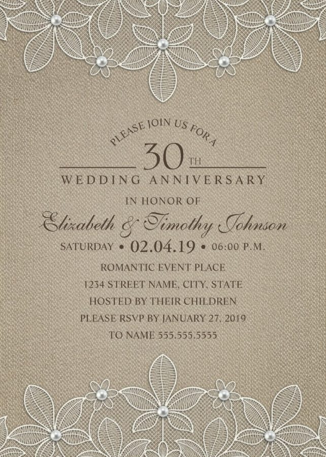 rustic burlap 30th wedding anniversary invitations lace and pearls