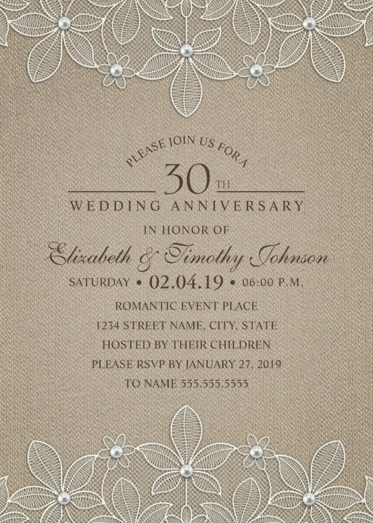 Rustic Burlap 30th Wedding Anniversary Invitations - Lace and Pearls Cards