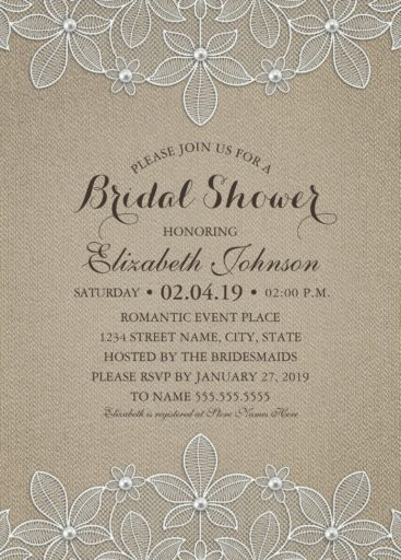 Rustic Burlap Bridal Shower Invitations - Country Lace and Pearls Cards