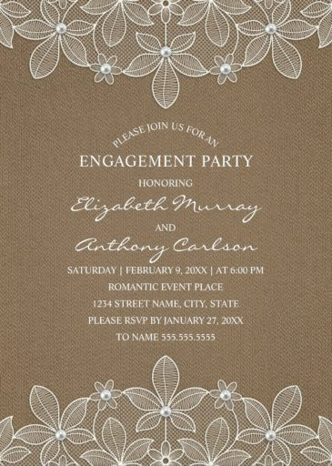 Rustic Burlap Engagement Party Invitations - Country Lace and Pearls Cards