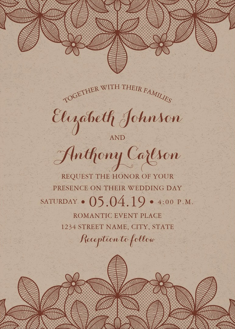 Rustic Craft Paper Wedding Invitations - Vintage Country Lace Cards