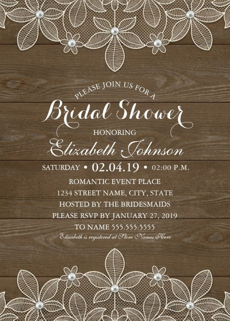 Rustic Wood Bridal Shower Invitations - Country Lace and Pearls Cards