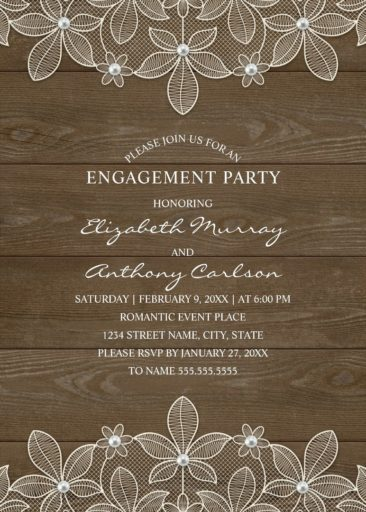 Rustic Wood Engagement Party Invitations - Country Lace and Pearls Cards