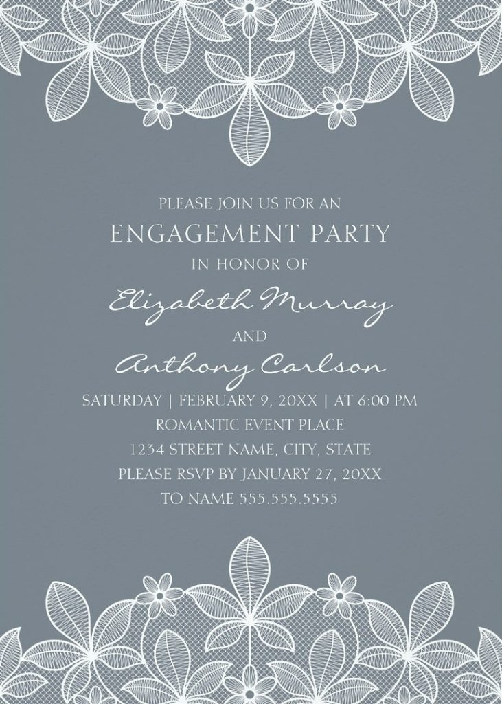 Unique Lace Engagement Party Invitations - Elegant Country Cards