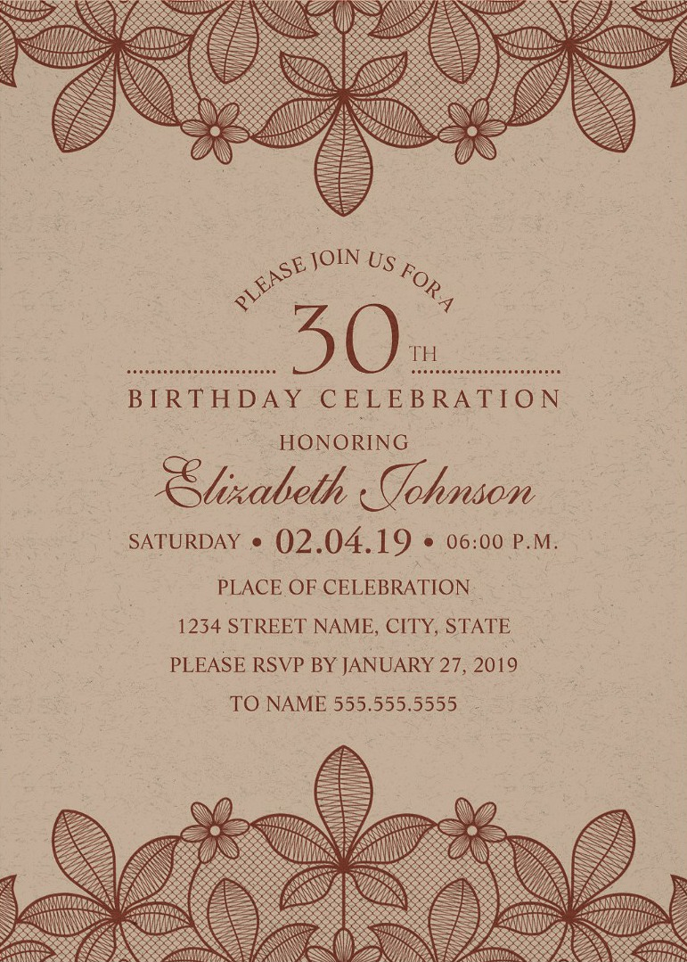 Elegant Lace 30th Birthday Invitations - Creative Luxury Cards