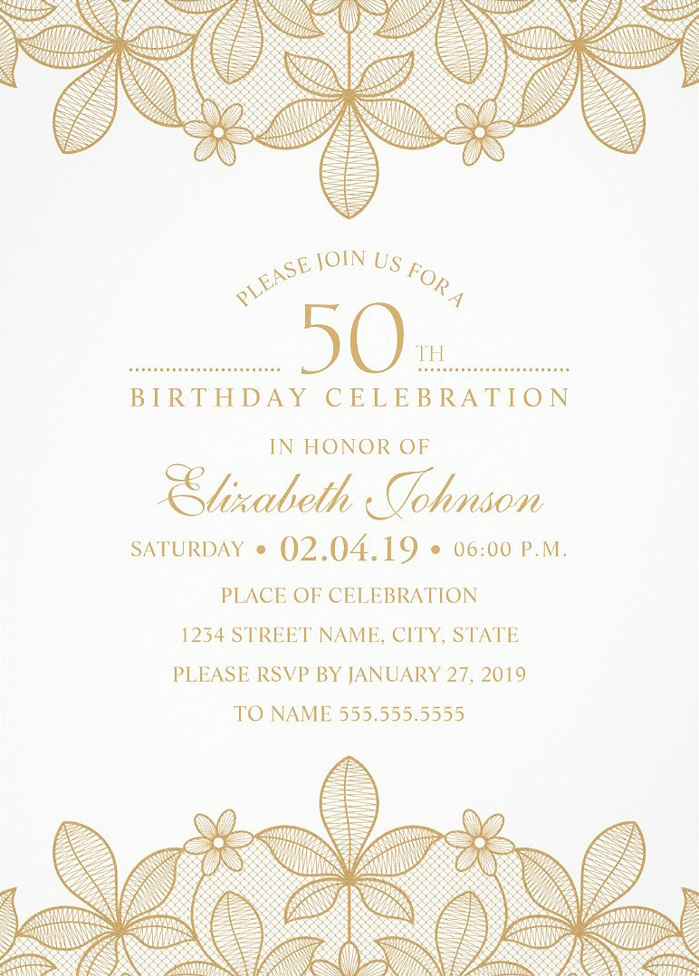 Golden Lace 50th Birthday Invitations - Elegant Luxury Cards