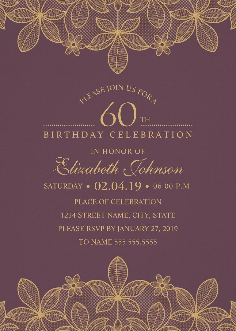 Golden Lace 60th Birthday Invitations - Elegant Luxury Cards