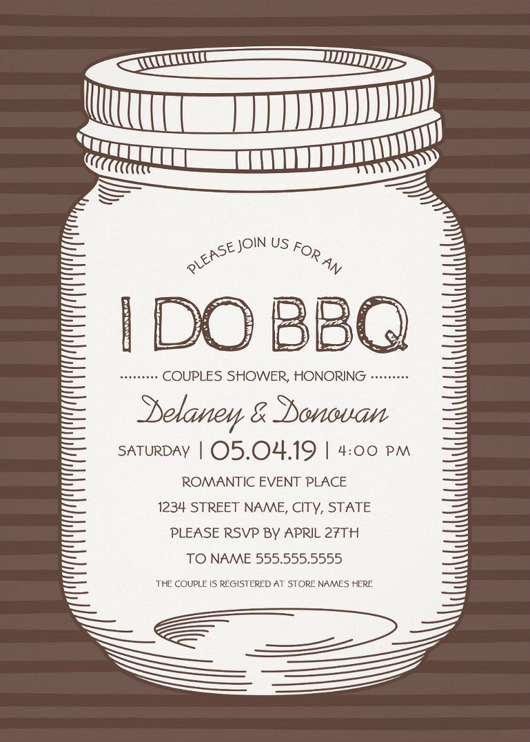 I Do BBQ Couples Shower Invitations – Unique Rustic Vintage Mason Jar Cards