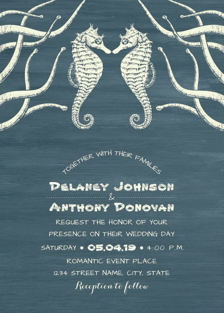 Nautical Beach Wedding Invitation, Seahorse Wedding Invitation, Modern Dusty Blue