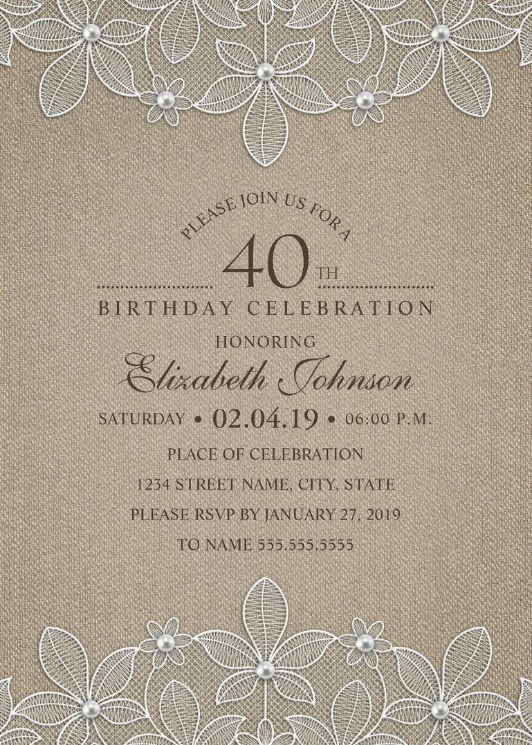 Lace 40th Birthday Invitations Archives Superdazzle Custom