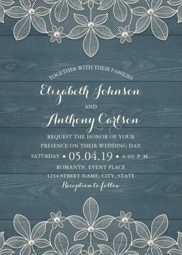 Rustic Lace Wedding Invitation, Modern Wedding Invitation, Dusty Blue Wood
