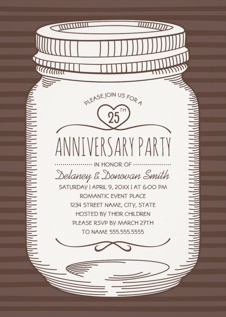 Rustic Mason Jar 25th Wedding Anniversary Invitations – Vintage Country Cards