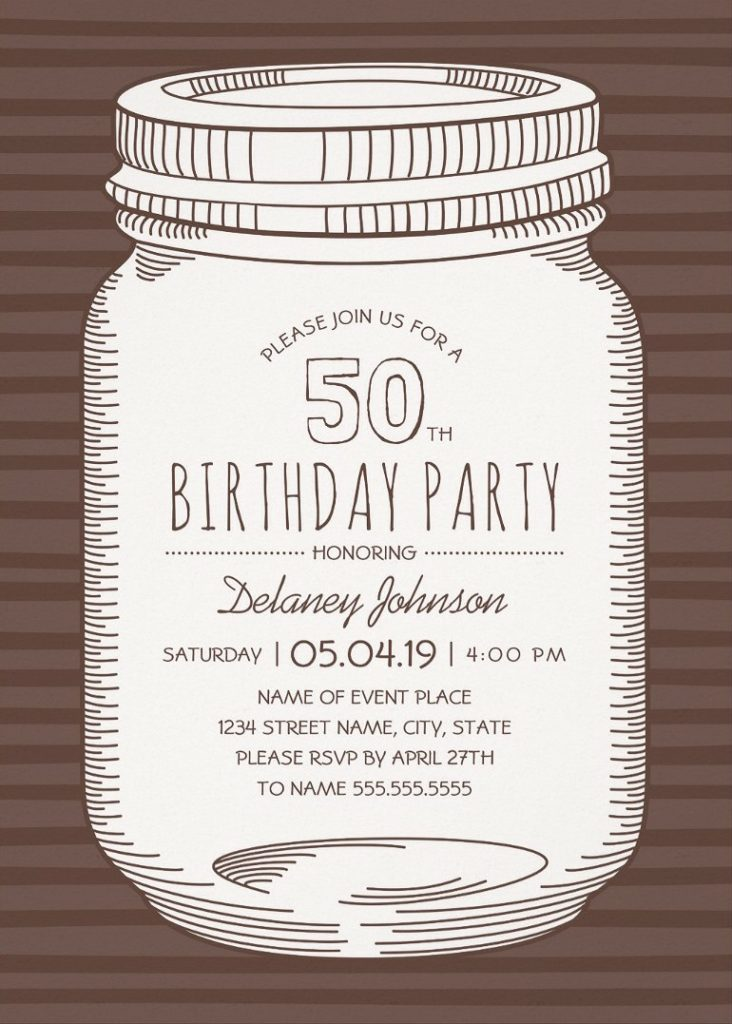 Rustic Mason Jar 50th Birthday Party Invitations – Vintage Country Cards