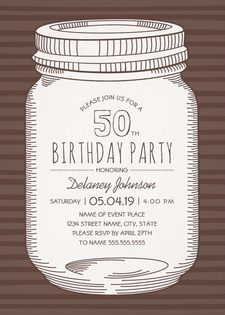 Rustic Mason Jar 50th Birthday Party Invitations Vintage Country Cards