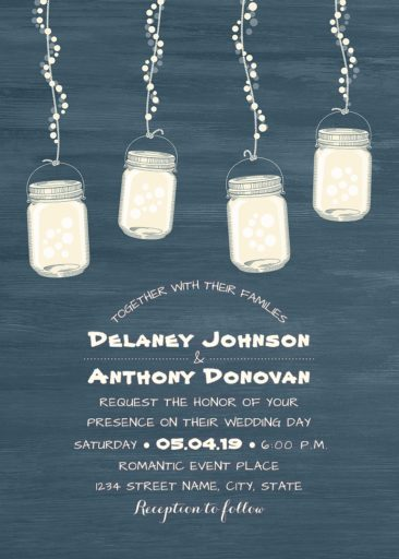 Rustic String Light Mason Jars Wedding Invitation, Modern Wedding Invitation, Dusty Blue Wood
