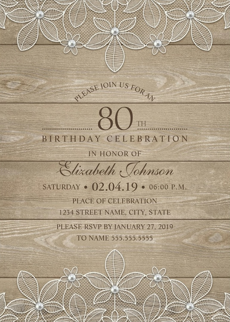Rustic Wood 80th Birthday Invitations - Lace and Pearls Party Cards