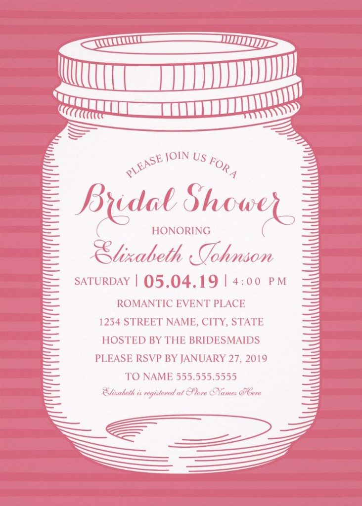 Vintage Mason Jar Bridal Shower Invitations – Unique Rustic Country Cards