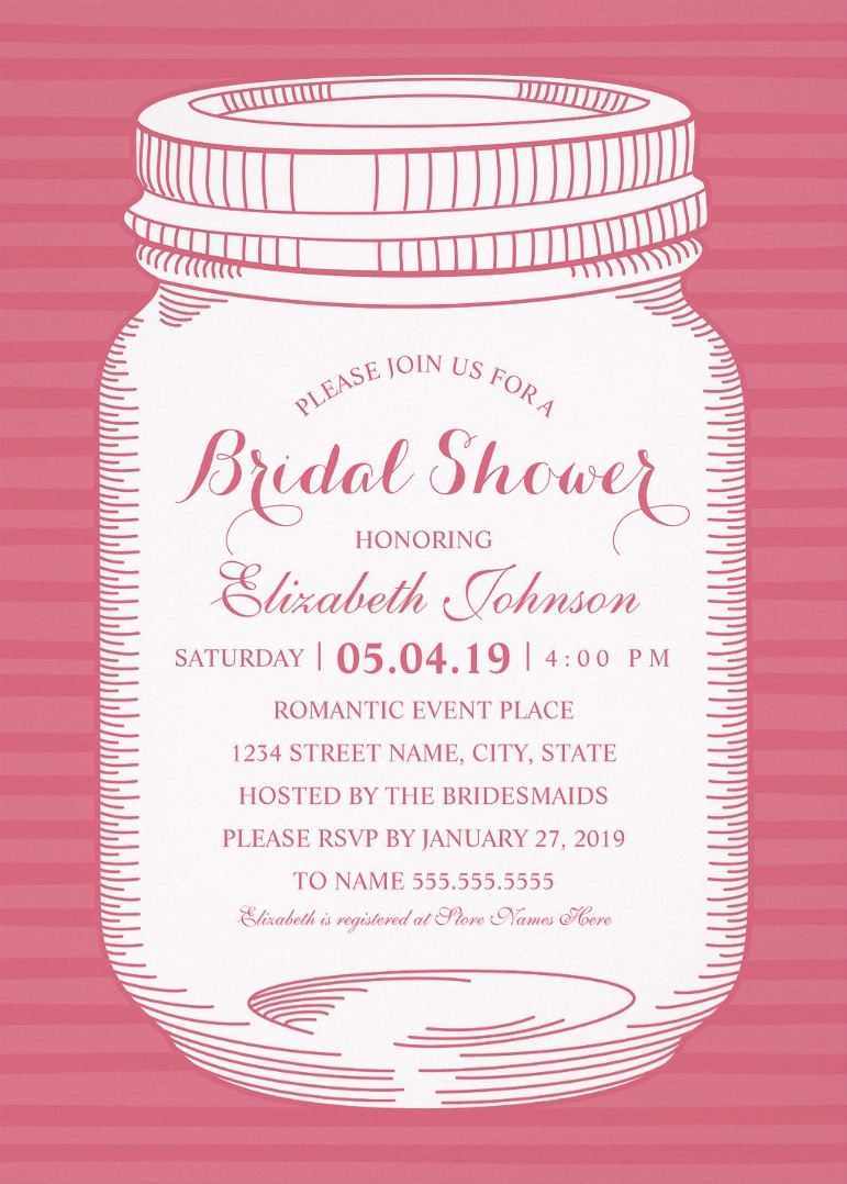 Vintage Mason Jar Bridal Shower Invitations – Unique Rustic Country ...