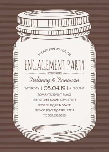 Vintage Mason Jar Engagement Party Invitations – Unique Rustic Country Cards